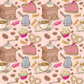 Sweet coffee and candies seamless pattern on beans background Royalty Free Stock Photos