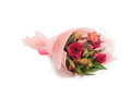 Sweet colorful small bouquet pink roses on white background Royalty Free Stock Image