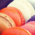 Sweet and colourful french macarons retro vintage style Royalty Free Stock Images