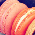 Sweet and colourful french macarons retro vintage style Stock Image