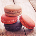 Sweet and colourful french macarons retro vintage style Royalty Free Stock Image
