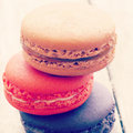 Sweet and colourful french macarons retro vintage style Stock Images