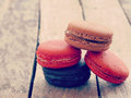 Sweet and colourful french macarons retro vintage style Royalty Free Stock Photo