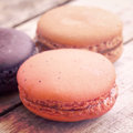 Sweet and colourful french macarons retro vintage style Royalty Free Stock Photos