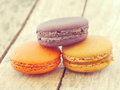 Sweet and colourful french macarons retro vintage style Stock Photos