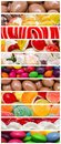 Sweet confectionery background collage delicious sweets with candies cookies and other Stock Photo
