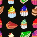 Sweet confectionery vector seamless pattern with different colored cupcakes and cakes.