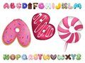 Sweet cookie font. Vector letters baking in colored glaze set