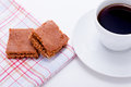 Sweet cookies biscuit with black coffee Stock Image