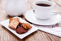 Sweet cookies biscuit with black coffee Royalty Free Stock Photo