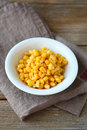 Sweet corn in a bowl top view Stock Image