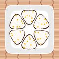Sweet corn onigiri. Japanese cuisine. Vegetarian. Royalty Free Stock Photo
