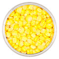 Sweet corn top view of canned kernels in a circular metal can isolated on white Royalty Free Stock Photo