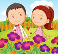 A sweet couple at the garden in the hilltop illustration of Stock Photo