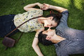 Sweet Couple Laying Grass Concept Royalty Free Stock Photo