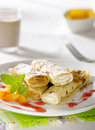 Sweet crepes and cocoa Royalty Free Stock Image
