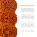 Sweet crispy biscuits vertical photo woth sample text Royalty Free Stock Photography