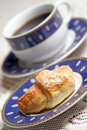 Sweet croissant - coffee break. Royalty Free Stock Photography