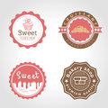 Sweet cupcake and bakery and milk shop circle logo vector illustration design