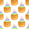 Sweet cupcakes with cherry. Seamless vector pattern. Hand drawn rainbow watercolor painting.