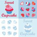 Sweet cupcakes desingn set and cookies design pattern Stock Photos