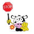 Sweet and cute cow with sign stop vector Royalty Free Stock Photo