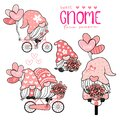 Sweet cute Gnome in pink hat on bicycle with heart balloons collection, couple lover gnome love Valentine element set Royalty Free Stock Photo
