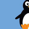 Sweet and cute penguin color vector illustration Royalty Free Stock Photo