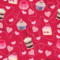 Sweet cute valentine desserts pattern Stock Images