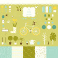 Sweet decorative garden set for scrap booking art related silhouette icons and seamless patterns your design Stock Image