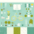 Sweet decorative garden set for scrap booking art related silhouette icons and seamless patterns your design Royalty Free Stock Photography