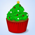 Sweet and delicious Christmas cupcake for New Year design. Simple cartoon style. Vector illustration