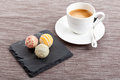 Sweet delicious truffle pralines chocolate and hot espresso coffee objects food assortement Royalty Free Stock Image