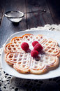 Sweet and delicious waffles with fruits photo of Stock Images