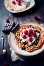 Sweet and delicious waffles with fruits photo of Stock Photography