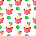 Sweet delicious watercolor pattern with cupcakes. Hand-drawn background. illustration.