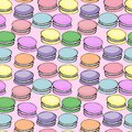 Sweet delicious watercolor pattern with macarons. Hand-drawn background. illustration on pink
