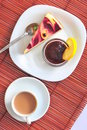 Sweet dessert: cake, jam and coffee Stock Image