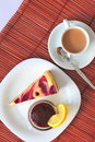 Sweet dessert: cake, jam and coffee Stock Photography