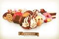Sweet dessert with chocolate
