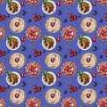 Sweet dessert, cupcake, creme brulee with fresh berries on blue, seamless watercolor pattern