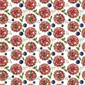 Sweet dessert, cupcake with strawberry and blueberry, seamless watercolor pattern