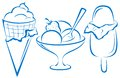 Sweet dessert ice cream set symbolical blue monochrome pictograms Royalty Free Stock Photo