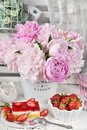 Sweet dessert with strawberry jelly cake and fresh fruits Royalty Free Stock Photo