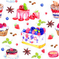 Sweet desserts with berries, watercolor seamless pattern