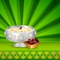 Sweet dish for eid illustration of sewain mubarak blessing Stock Images