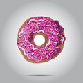 Sweet donut illustratio with pink glaze and many decorative sprinkles. Can be used as card or t-shirt print for label