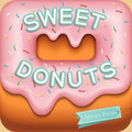 Sweet donuts background vector menu cover design template Royalty Free Stock Photography