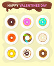Sweet Donuts Set Design Flat Food. Valentine day Royalty Free Stock Photo