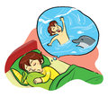 Sweet dreaming a boy on a beach swimming with dolphin vector eps file Royalty Free Stock Photo
